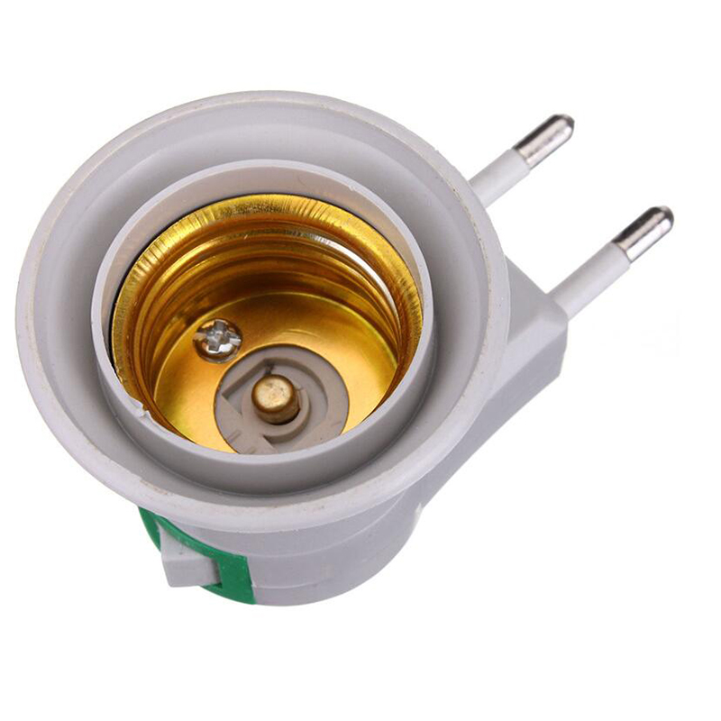 1204 Lamp Base E27 LED Light Male Socket to EU Type Plug Adapter Converter for Bulb Lamp Holder With ON OFF Button 2