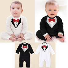 Pure Cotton Baby Boys Rompers Bow Tie Design One-Pieces Baby Boy Gentleman Body Suit Newborn Baby Jumpsuit