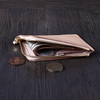 Natural vegetable tanned leather coin bag zipper leather coin wallet with cash leather coin card holder