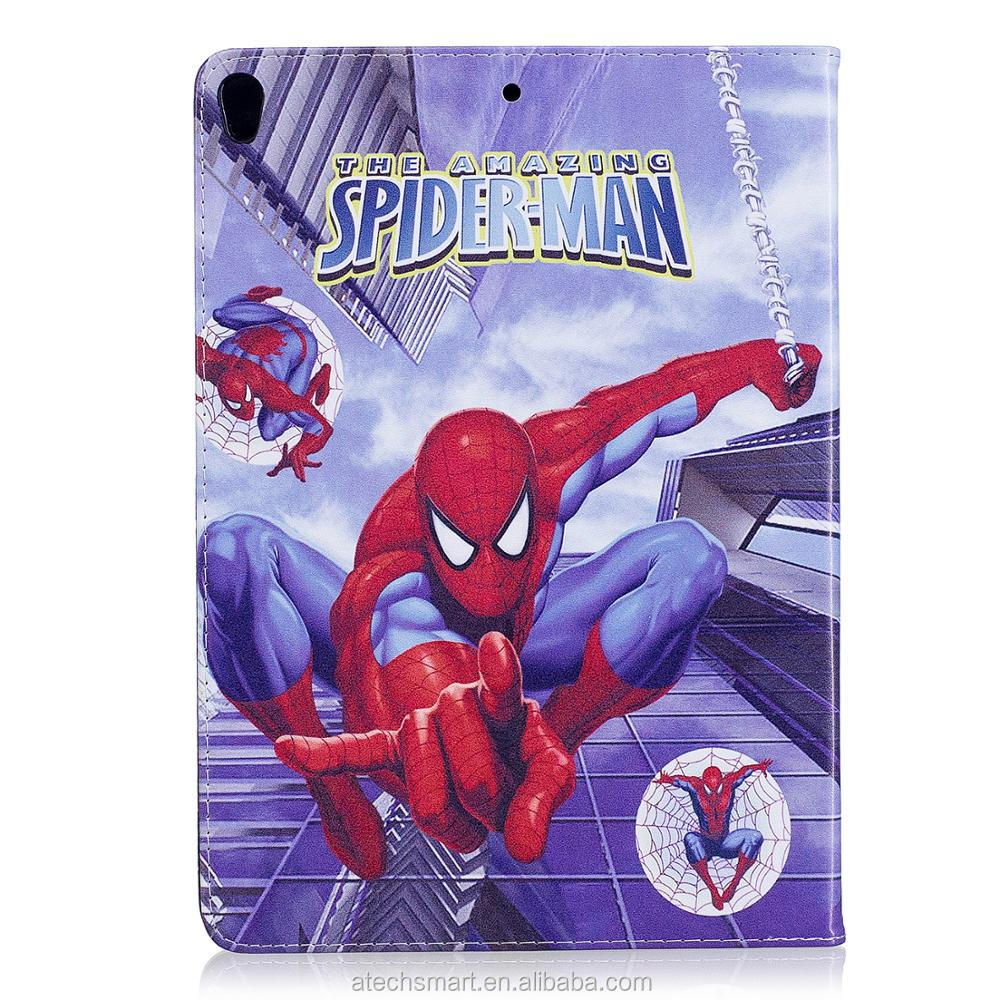 hot sale Cartoon kids spiderman leather protective case for iPad Pro 10.5''