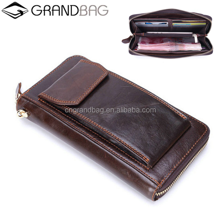 men genuine leather clutch wallet with cell phone pocket brand new long zipper purse china manufacturer