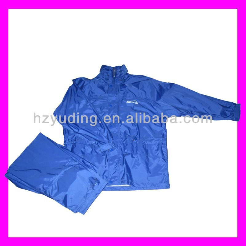 High quality purple Polyester coated PVC plain rain jacket in two pieces