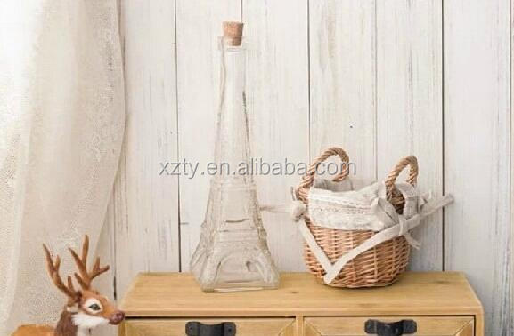 Creative tower shape transparent glass vase with cork wishing bottle