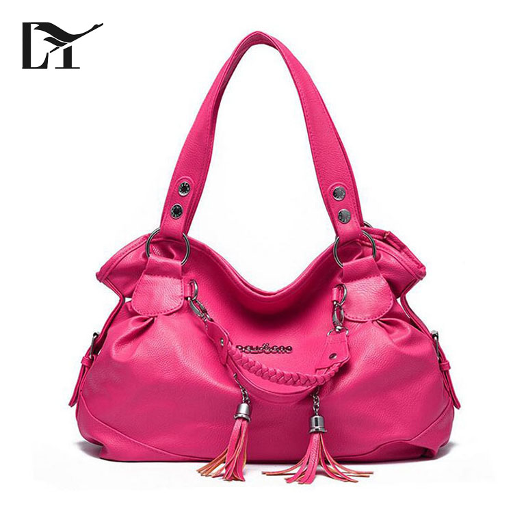 Wholesale Fashion <strong>Designer</strong> Rose Red PU Leather Stocked Handbags Ladies Shoulder Bags