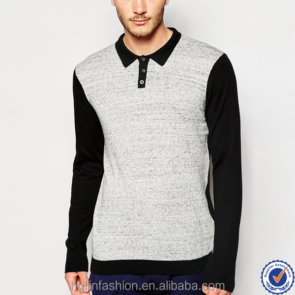 guangzhou wholesale market 100% cotton quality t-shirts oem polo neck contrast front long sleeve tees