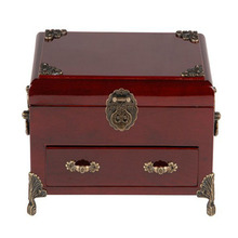 Harwoo Deep Red Lacquer Wood Box Packaging Boxes Wood Box With Drawer