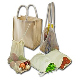 Reusable organic cotton mesh produce bag with drawstring for grocery shopping fruit vegetable