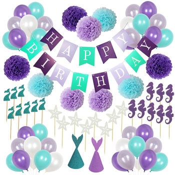 Umiss Mermaid Party Decorations Happy Birthday Banner , Balloons Paper Pom Poms ,glitter cap set Supplies Pack