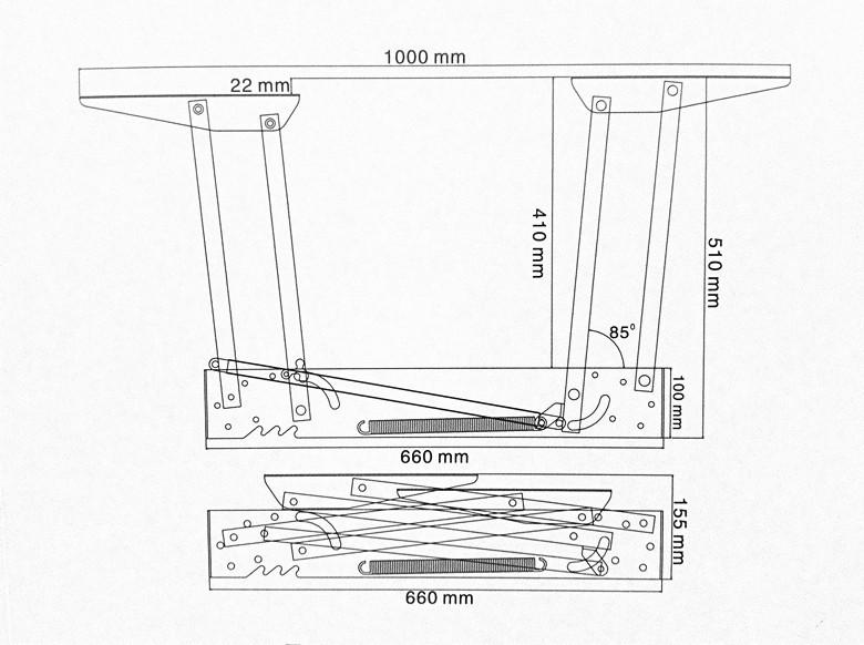 Pop up tisch mechanismcouchtisch lift scharnier