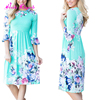 Fashion light blue loose printed one piece new ladies pattern floral dress