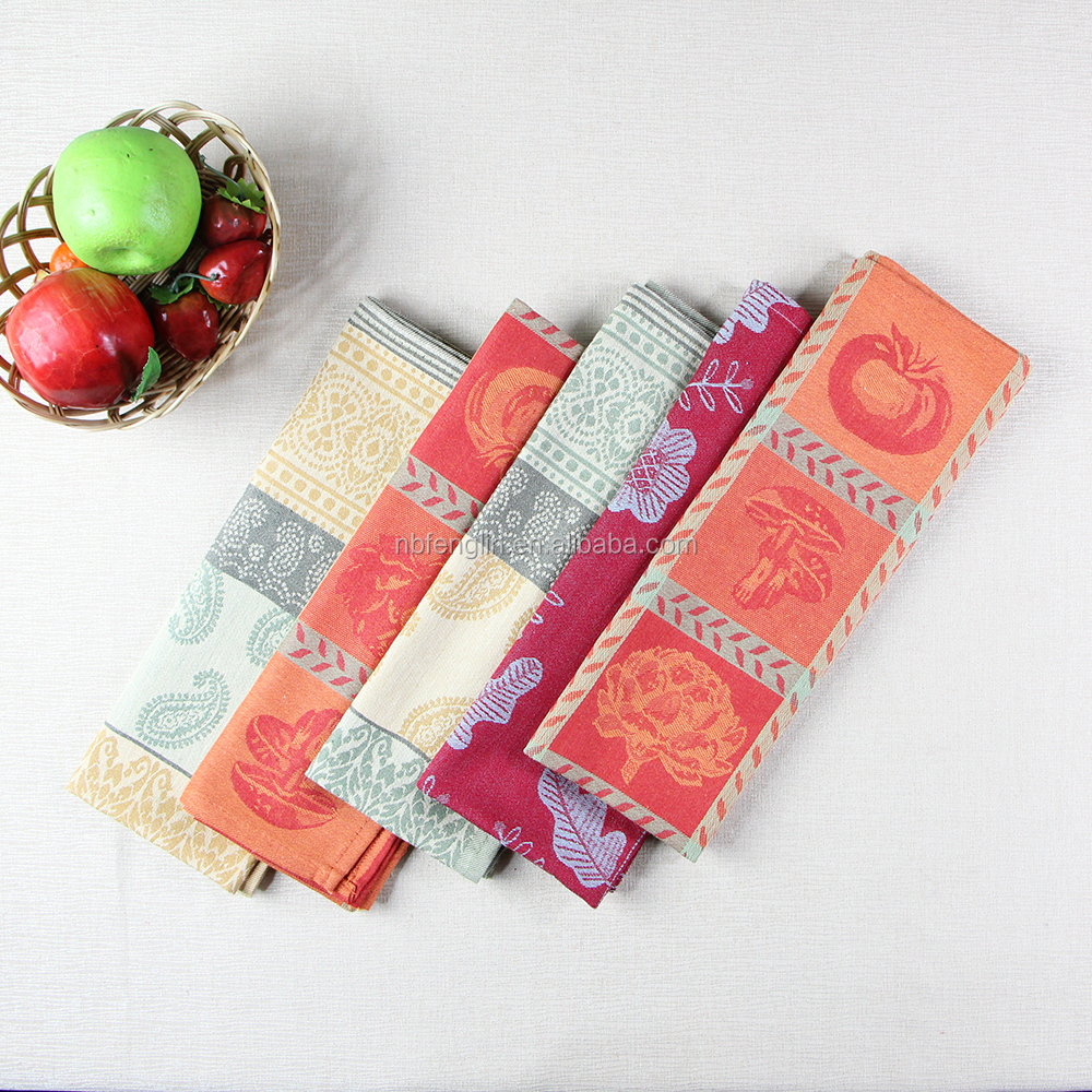 flower style design jacquard kitchen towel set