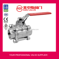 3PC Stainless Steel Ball Valves Threaded Ends 1000WOG with Lockable Handle Hydraulic Ball Valves