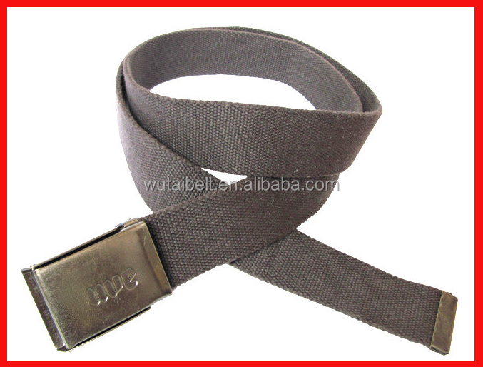 Grey cotton flat jeans canvas belt with bottle opener buckle