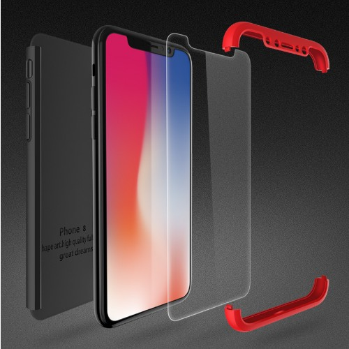 360 Protective Case For iPhone 6 7 8 X Tempered Glass Front Back Cover Full Body Coverage