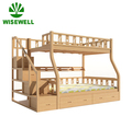 W-LS-1620 wooden double bunk beds with drawers stairs