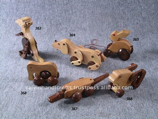 wooden moving animal toys