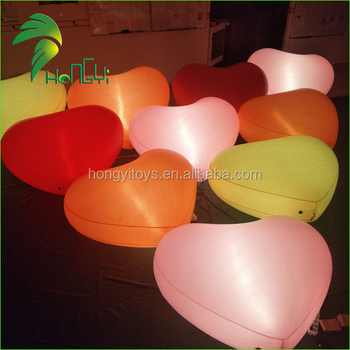 Colorful LED Illumination Balloon Type Infllatable Heart Shape For Wedding Decoration