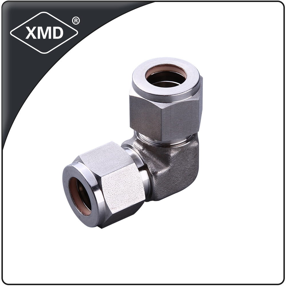 hot selling stainless steel 304 316 90 Degree double ferrule union elbow fitting with high pressure