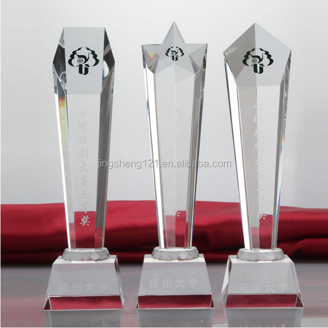 Wholesale Various Styles Diaphanous Sandblast Crystal Trophy Award Plaques With Crystal Base For Souvenir