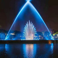 Modern Fountain Garden Dancing Water Fountains With Rainbow And Peacock Water Shape