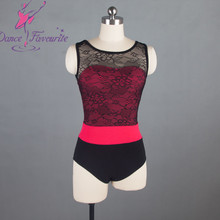 Black Lace and Rose Red Bodice Ballet Dance Leotard for Adults 01D0037-1