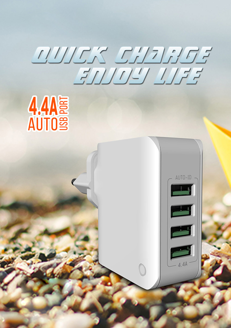 Travel Charger Quick Charging Speed Auto-ID 4.4A Popular Worldwise Common Use
