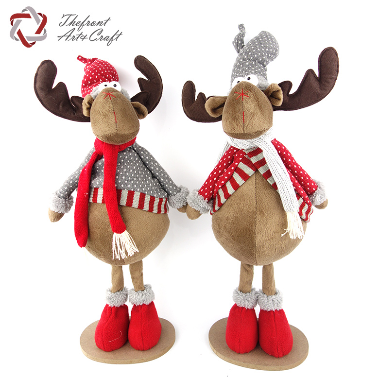 Gray dot clothing red hat toys doll standing Christmas ornaments reindeer plush