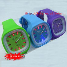 Blinking LED SS.COM Square Cheap Jelly Light Up Watches