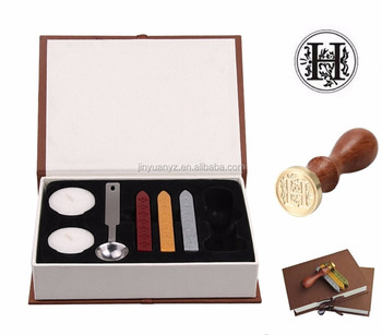 JinYuan Antique Alphabet Wax Seal sealing Stamp Sticks Melting Spoon Candles Set with Gift Box ( H )