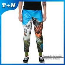 colorful baggy all over print slim fit sweat pants