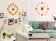 Orange DIY Wall Clock Sticker decorative decals for furniture flying birds wall decal