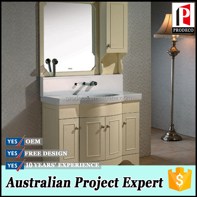 cream yellow pvc board with embedded faucet mirror cabinet and vanity integrated bathroom vanity combo