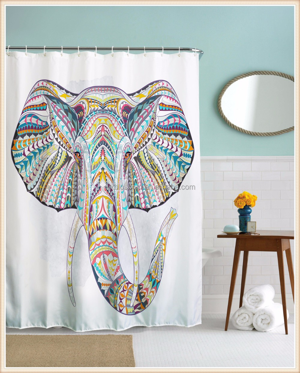 Top one printing polyester home goods elephants shower curtain