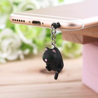 In Stock! Newest Cute Cat Hanging 3.5mm Anti Dust Earphone Jack Plug Stopper Cap For Phone