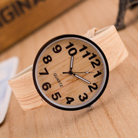 Korean big dial leisure quartz watches wood grain creative watches restoring ancient ways men and women lovers table