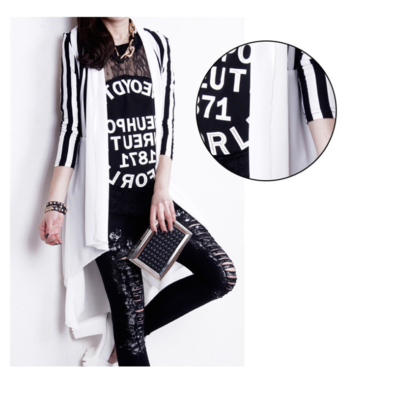 fashion black white stripe classic casual Crochet Poncho Plus Size Coat Women long chiffon vestidos Cardigans