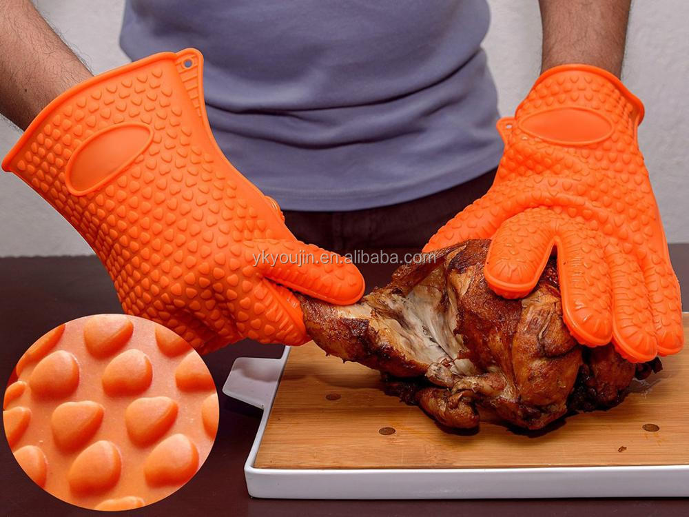1 Size Fits for all Silicone Heat Resistant Grilling BBQ Gloves,Oven Mitts,BBQ & Grill Heat Protection