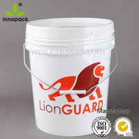 wholesale 5 gallon white round plastic printed buckets pails with lid
