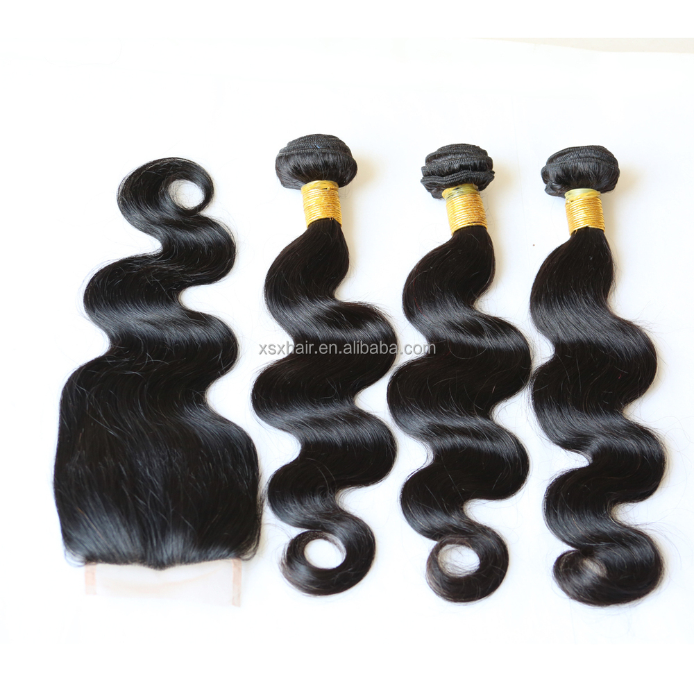 Wholesale 6A grade virgin Brazilian body wave hair extensions with lace closure pieces for black women