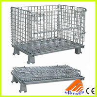 china foldable collapsible pallet bin,industrial stackable wire mesh storage cage,metal bulk container