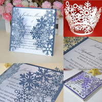 """Winter Dreams"" laser cut winter wedding favors &decorations snowflake invitations"