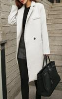 Runwaylover EY0867C Solid Black Woolen Trench Coat For Woman 2016 Female Warm Midi Coat Autumn Winter
