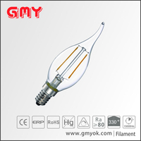 warm light 2700k E14 220V B35L clear cover filament candelabra led bulbs