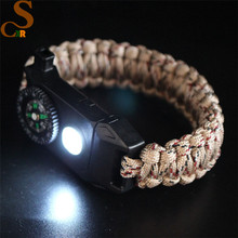 CSXR Tactical Survival Bracelet - Paracord 550 + Compass + Fire Starter + Whistle + Emergency Knife -+camping gear and SOS LED