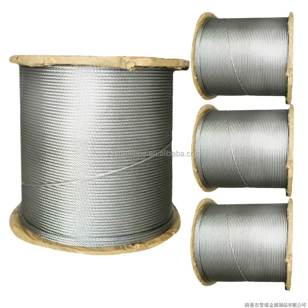 yellow greased 6*19+IWRC 2mm galvanized wire rope export
