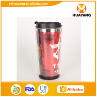 2016 new paper insert thermal coffee mug/plastic advertising cup/starbucks thermal coffee cup