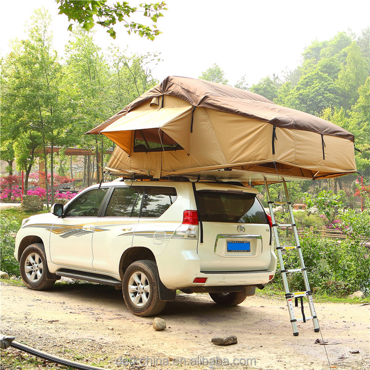 Kingsize 1.4m Canvas fabric aluminium inflatable car top tent camping