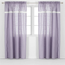 Purple rod pocket joint printing cotton linen curtain with lace