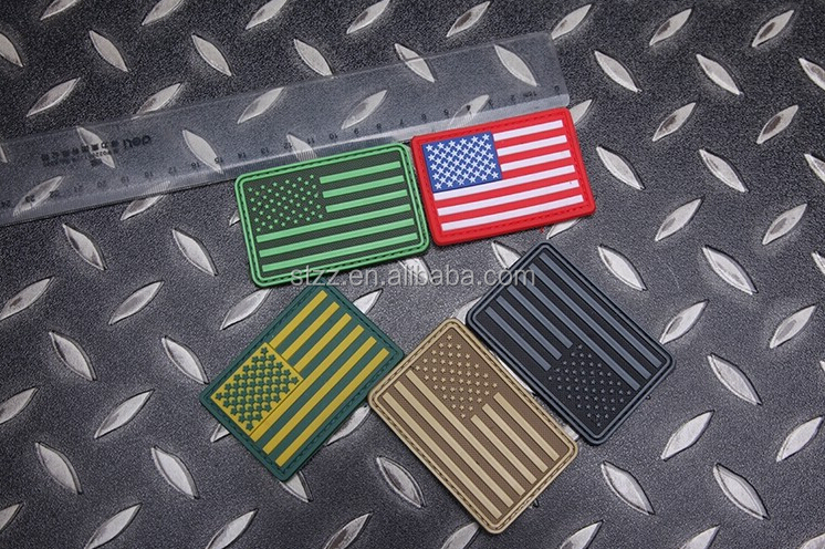 American Flag Patch Rubber PVC US Flag Hook And Loop Tactical Patches Military Armband Army Badge Red Green Color