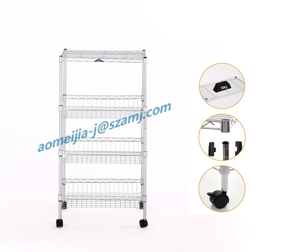 NSF approved 4 layer adjustable metro wire shelving for home use
